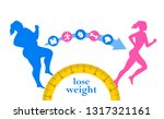 weight loss. woman before and... | Shutterstock .eps vector #1317321161