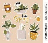 hello spring poster in vector.... | Shutterstock .eps vector #1317328817
