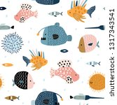 seamless pattern with creative... | Shutterstock .eps vector #1317343541