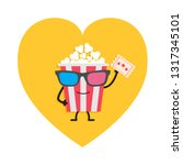 popcorn box in 3d glasses.... | Shutterstock .eps vector #1317345101