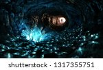 mysterious blue crystal cave ... | Shutterstock . vector #1317355751