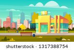 city bank branch building with... | Shutterstock .eps vector #1317388754