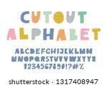 cute cutout alphabet. pastel...   Shutterstock .eps vector #1317408947