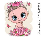 cute cartoon baby with flowers... | Shutterstock .eps vector #1317417551