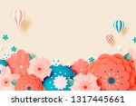 beautiful floral paper art with ... | Shutterstock .eps vector #1317445661