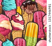 seamless pattern with ice cream ... | Shutterstock .eps vector #1317446981