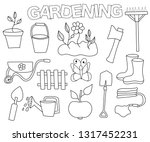 gardening set of icons and... | Shutterstock .eps vector #1317452231
