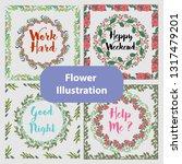 floral illustration with frame | Shutterstock .eps vector #1317479201