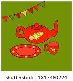 utensils for tea. vector... | Shutterstock .eps vector #1317480224