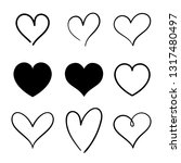 heart hand drawn icons set... | Shutterstock .eps vector #1317480497
