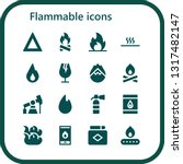 flammable icon set. 16 filled... | Shutterstock .eps vector #1317482147
