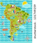 cartoon map of south america | Shutterstock .eps vector #131749259