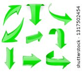 green 3d arrows. shiny icons....   Shutterstock . vector #1317502454