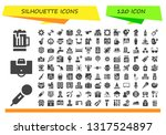 silhouette icon set. 120 filled ...