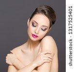 portrait of a gorgeous brunette ... | Shutterstock . vector #1317525401
