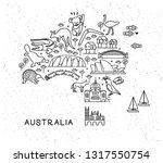 australia travel line icons map.... | Shutterstock .eps vector #1317550754