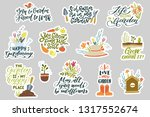 set of 12 gardening stickers... | Shutterstock .eps vector #1317552674