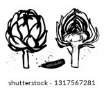 set of artichokes. black and...   Shutterstock .eps vector #1317567281
