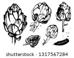 set of artichokes. organic and... | Shutterstock .eps vector #1317567284