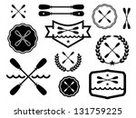 paddle badges and icons.   Shutterstock .eps vector #131759225