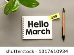 hello march text in a notebook.    Shutterstock . vector #1317610934