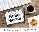 hello march text in a notebook.    Shutterstock . vector #1317610937
