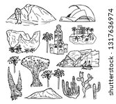 drawing elements of tenerife... | Shutterstock .eps vector #1317636974