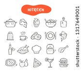 hand drawn line style icons of... | Shutterstock .eps vector #1317649001