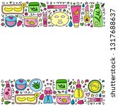 poster with cute doodle colored ... | Shutterstock .eps vector #1317688637