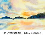 watercolor painting seascape... | Shutterstock . vector #1317725384