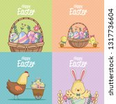 happy easter cards collection | Shutterstock .eps vector #1317736604