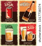 vintage drinks set | Shutterstock .eps vector #1317738374
