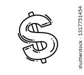 outline hand drawn dollar... | Shutterstock .eps vector #1317751454