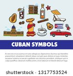 cuba travel poster with... | Shutterstock .eps vector #1317753524