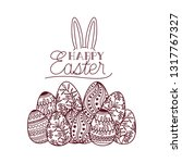 happy easter label with egg... | Shutterstock .eps vector #1317767327