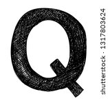 letter q pencil sketch in black ... | Shutterstock .eps vector #1317803624