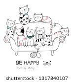 cute baby cat with sofa cartoon ... | Shutterstock .eps vector #1317840107