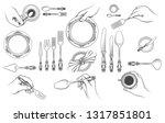 hands with cutlery. vector...   Shutterstock .eps vector #1317851801