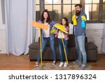 cleaning day. family mom dad... | Shutterstock . vector #1317896324