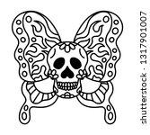 skull head butterfly tattoo | Shutterstock .eps vector #1317901007