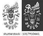 biker emblem with skull in...   Shutterstock . vector #1317910661