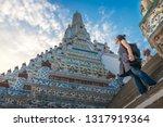 Traveler Woman Looking Pagoda...