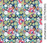 seamless pattern with flowers ... | Shutterstock .eps vector #1317924341