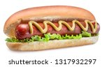 Stock photo hot dog grilled sausage in a bun with sauces on white background clipping path 1317932297