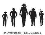 silhouette of five cowboys... | Shutterstock .eps vector #1317933011