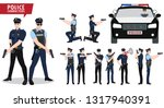 policeman and police car vector ... | Shutterstock .eps vector #1317940391