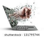 fist from laptop. isolated on... | Shutterstock . vector #131795744