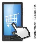 phone  cursor and shopping cart ... | Shutterstock .eps vector #131801645