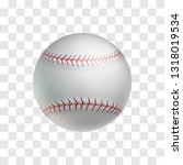 realistic leather baseball ball ... | Shutterstock .eps vector #1318019534