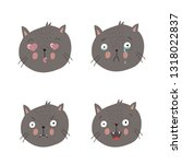 cats with different emotions set | Shutterstock .eps vector #1318022837
